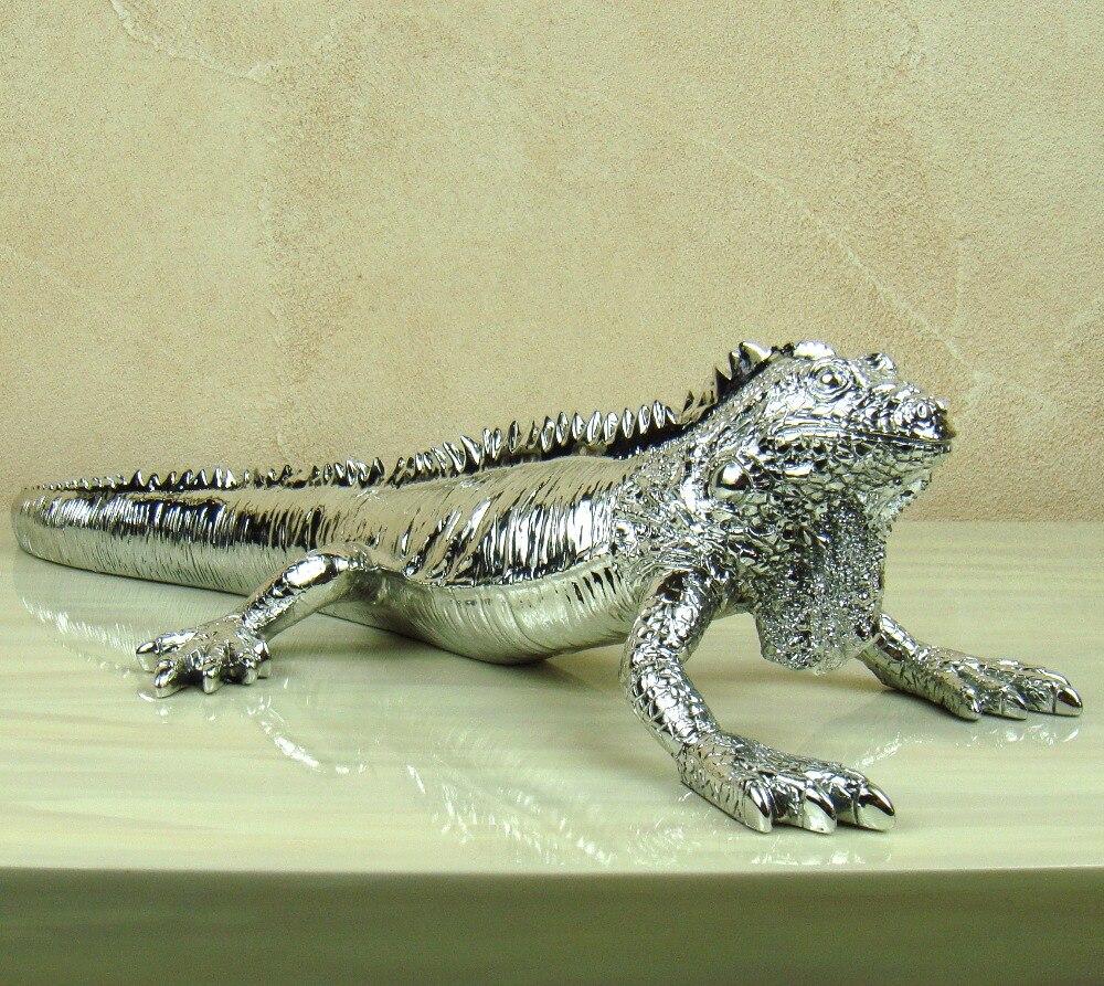 Silver Lizard Statue Electroplated Resin Cabrite Sculpture Reptile ...