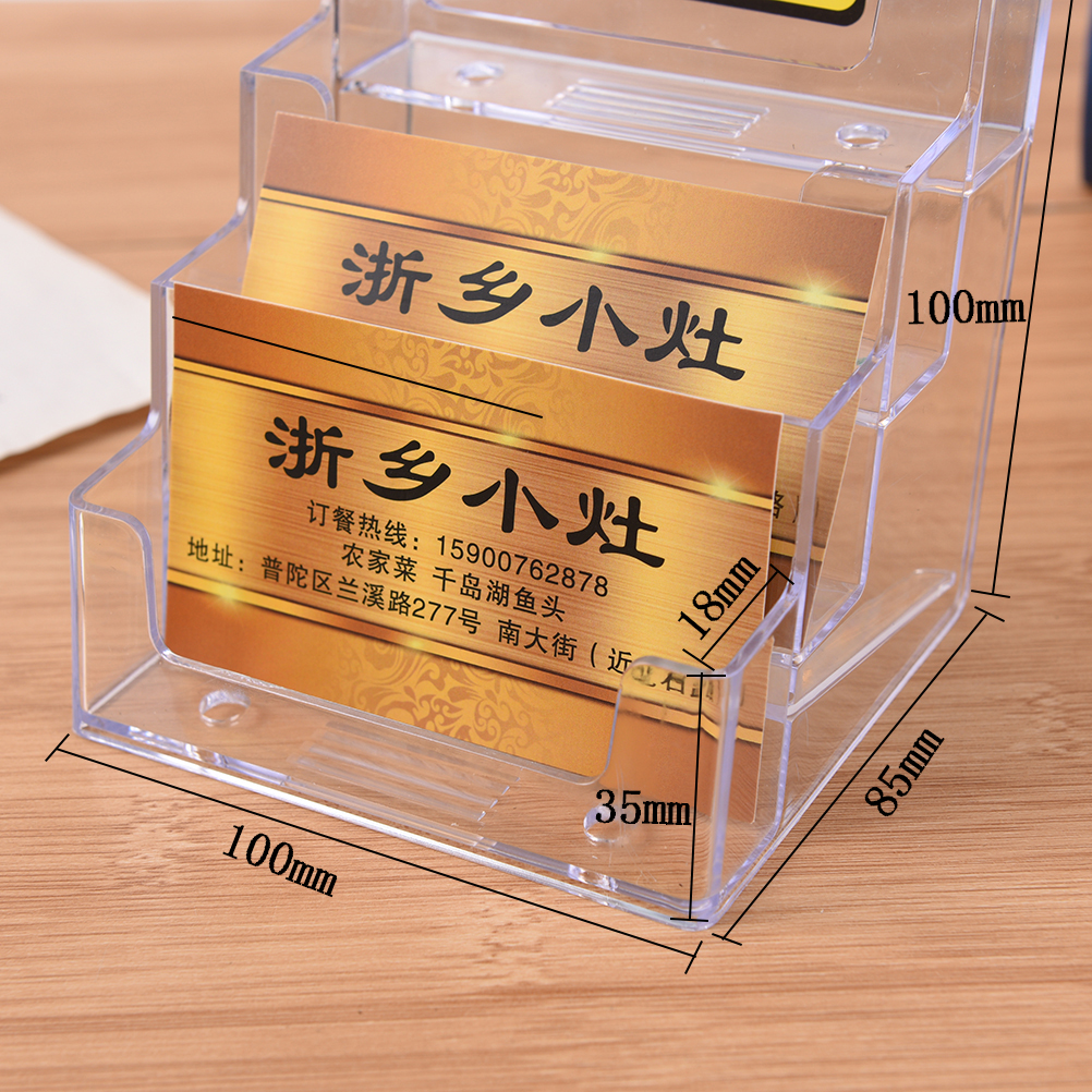 Купить с кэшбэком Promotion Four Pockets Clear Desktop Office Counter Acrylic Business Card Holder Stand Display Fit For Office School Best