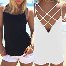 Фотография Hollow Out Summer Slim Render Top Women Sleeveless Croptops Tank Tops Solid Black/White Crop Tops Vest Tube Top