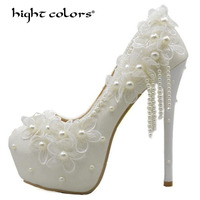 8CM/11CM/14CM 2018 Women's Spring And Summer Wedding Shoes White Lace Pearl high heels Party Shoes Bride Bridesmaid Pumps HC819