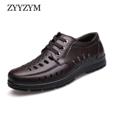 ZYYZYM Men Sandals New Summer Shoes Genuine Leather Ventilation Mens Business Casual Man Brand Black brown