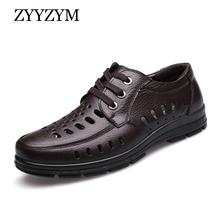 ZYYZYM męskie sandały nowe letnie buty prawdziwej skóry wentylacja męskie biznesowe obuwie męskie sandały marki czarny brązowy tanie tanio CN (pochodzenie) PRAWDZIWA SKÓRA Skóra bydlęca podstawowe Strzyżona skóra owcza MATURE RUBBER Sznurowane Mieszkanie (≤1cm)