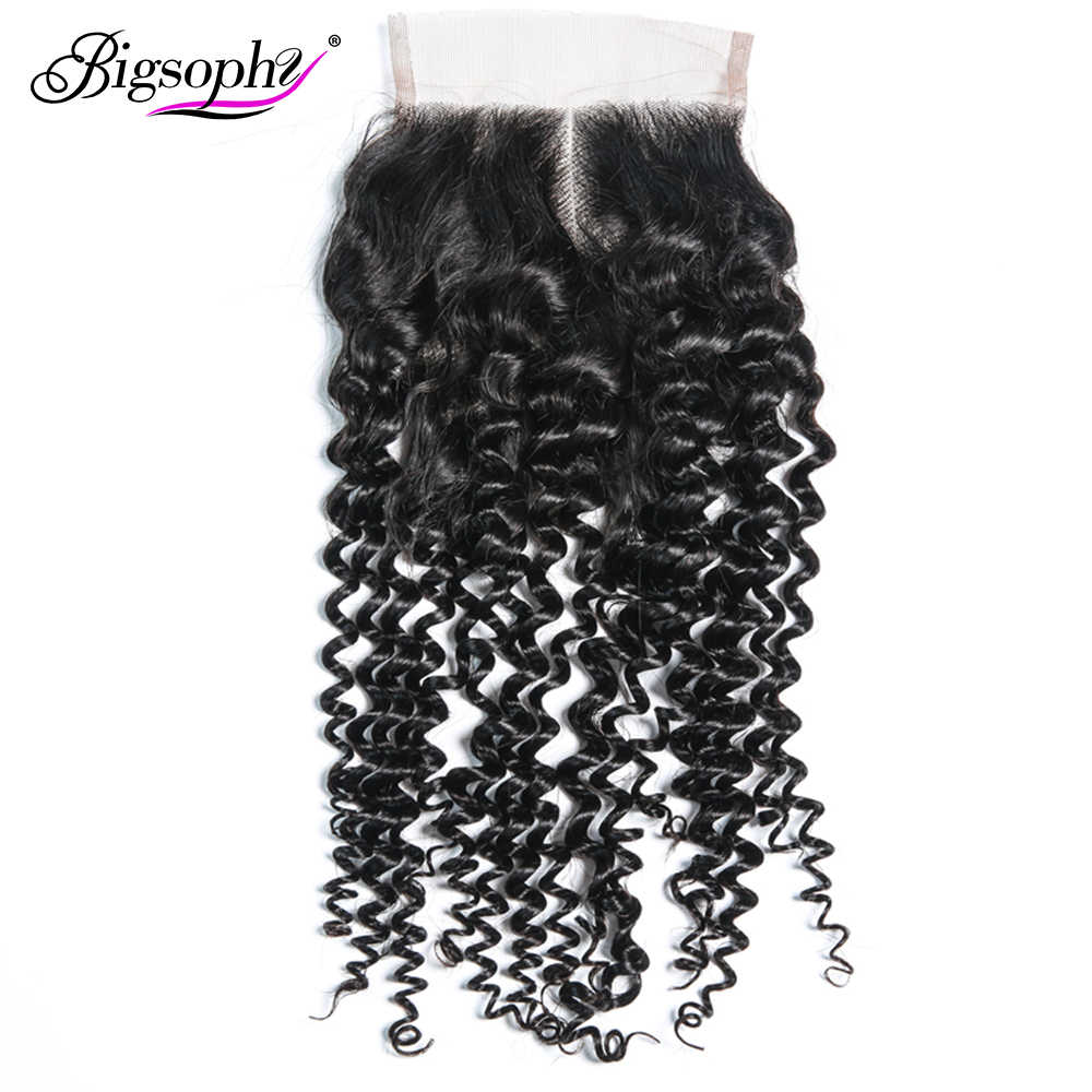 Bigsophy Peruvian Hair Kinky Curly Lace Closure 4*4  Human Remy Hair Lace Closure With Baby Hair Human Closure  Free Shipping