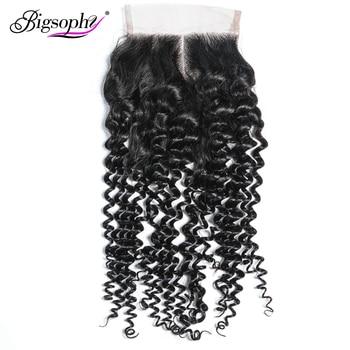 Bigsophy Peruvian Hair Kinky Curly Lace Closure 4*4  Human Remy Hair Lace Closure With Baby Hair Human Closure  Free Shipping цена 2017