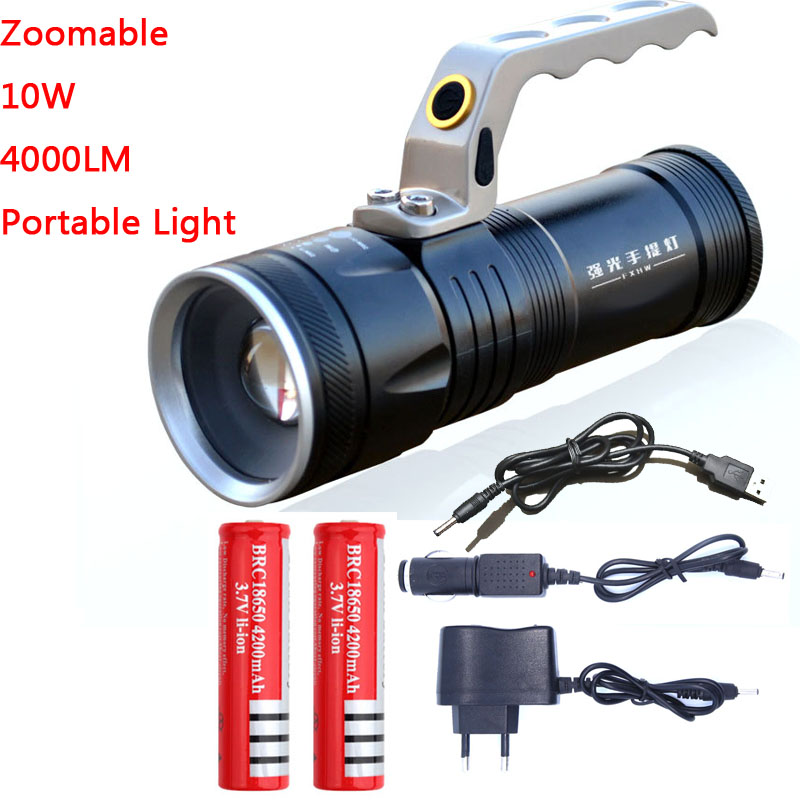 Масштабируемые 10 Вт LED 4000lm Перезаряжаемые фонарик Фонари Портативный легкой руки лампа Применение 2x18650 AC Автомобильное USB chargr