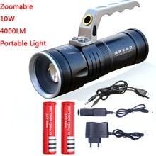 Zoomable 10 w led 4000lm recarregável lanterna tocha lanterna portátil luz mão uso da lâmpada 2x18650 ac carro usb chargr