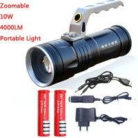Zoomable 10 watt led 4000lm wiederaufladbare taschenlampe laterne tragbare licht hand lampe verwenden 2x18650 ac auto usb chargr