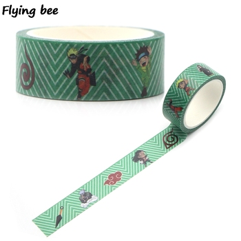 Flyingbee 15mmX5m Paper Washi Tape  Anime Adhesive Tape DIY Scrapbooking Sticker Cool Label Masking Tape X0326