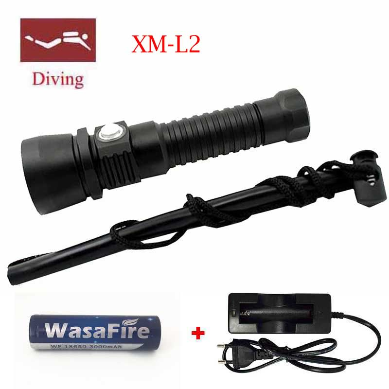 5000 Lumen lamp for underwater hunting XM-L2 LED 100 meter Waterproof Underwater Diving Torch diver 18650 Flashlight Torch Light l2 led 3800 lumen 100 meters underwater diving diver 18650 flashlight torch light lamp waterproof