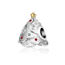 2016 Autumn Winter Silver Bead Fits Pandora bracelet Festival Christmas Tree 925 Sterling silver Beads With CZ Diamond Jewelry