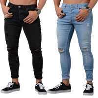 8d2e6cbb9158d NIBESSER синие облегающие джинсы мужские осенние винтажные джинсовые узкие  брюки повседневные Стрейчевые брюки 2018 сексуальные рваные