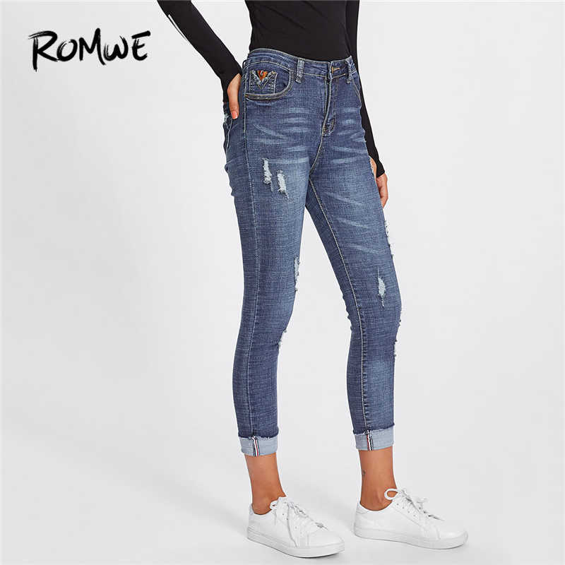 93b727f3615 ROMWE Roll Up Hem Ripped Blue Denim Jeans Women Casual Pants Spring Summer  Autumn Button Fly