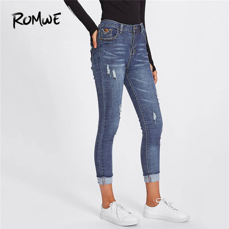 ROMWE Roll Up Hem Ripped Blue Denim   Jeans   Women Casual Pants Spring Summer Autumn Button Fly Mid Waist Capris Skinny Trousers