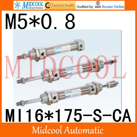 MI Series ISO6432 Stainless Steel Mini Cylinder MI16*175-S-CA bore 16mm port M5*0.8 expansion module elc md204l text panel