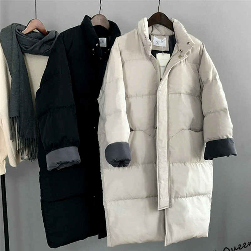 2019 New Woman   Parka   Winter Jacket Casual Loose Long Down Outerwear Female Full Sleeve Black Beige Thicken Overcoat Plus Size