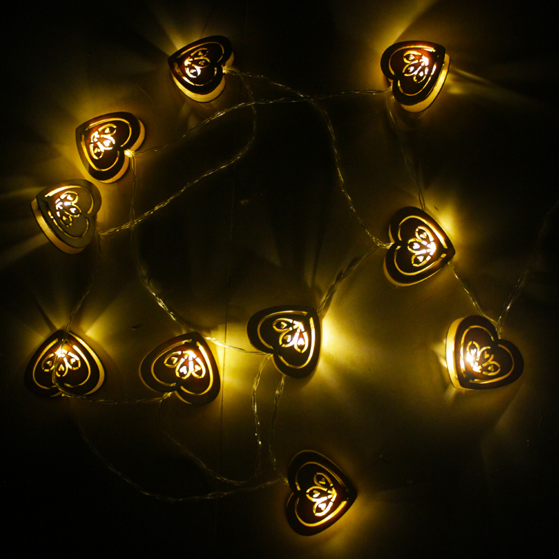 2.5m Fairy Battery operated LED wood Heart string lights Christmas luminaria Wedding decoration lighting indoor night lights 10m battery operated fairy lights led string garland curtain lamp for wedding indoor holiday lighting christmas tree luminaria