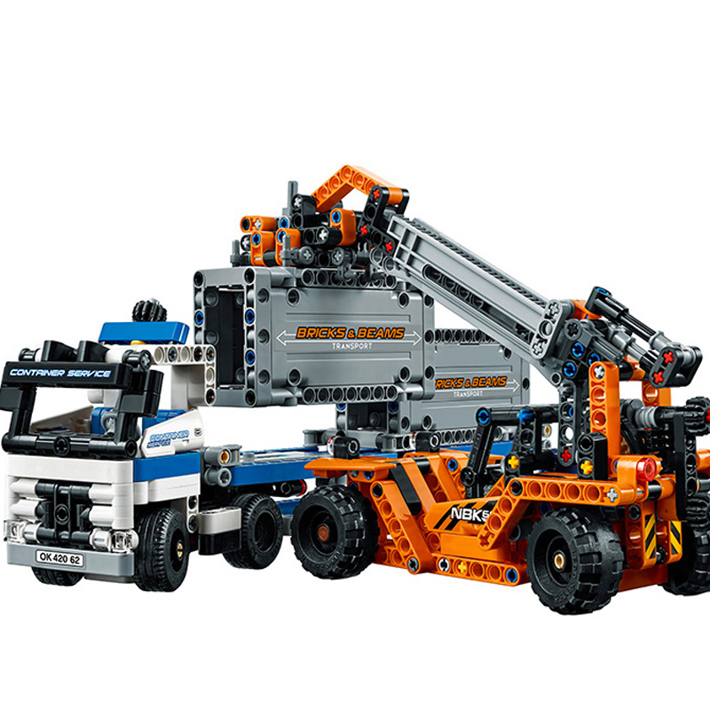 631Pcs Technic Series Container Trucks Crane Loaders Set Building Blocks Bricks Compatible Legoings For Children Birthday Gifts lepin 20035 new 631pcs technic series the container trucks and loaders set building blocks bricks educational toys with 42062