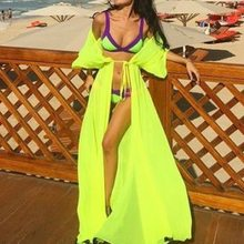 2019 Long bikini Beach Cover Up summer women Swimwear tunic Cardigan Bathing Swim suit Cover Up Sexy See-through Beach Dress(China)