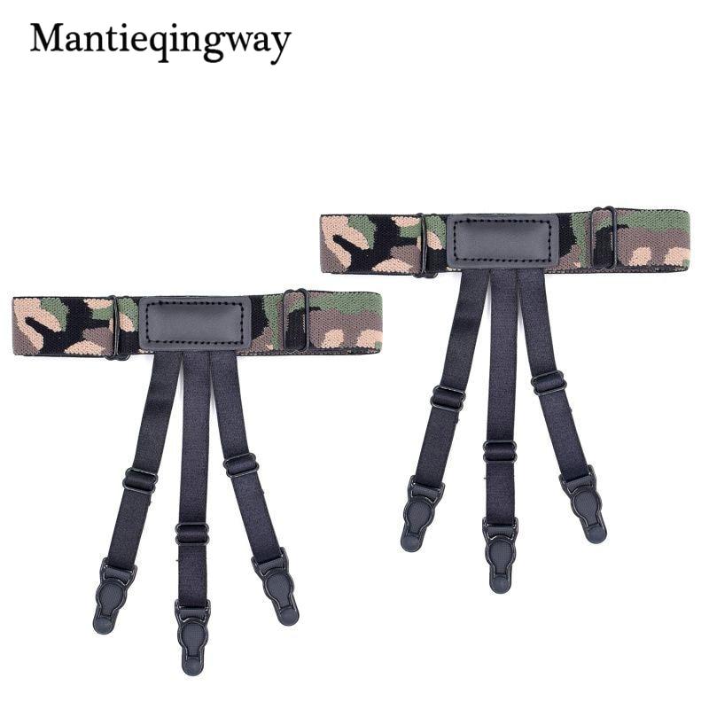 Mantieqingway 1 Pair Fashion Camouflage Printed High Leg Shirt Holders For Men Unisex Adjustable Non-slip Shirt Stays Garters Apparel Accessories