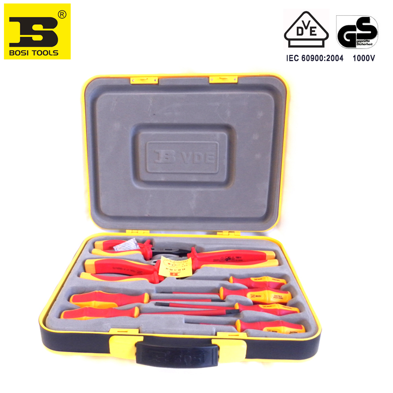 BOSI 9 in 1 VDE electrician screwdrivers cutters pliers tools set with portable case