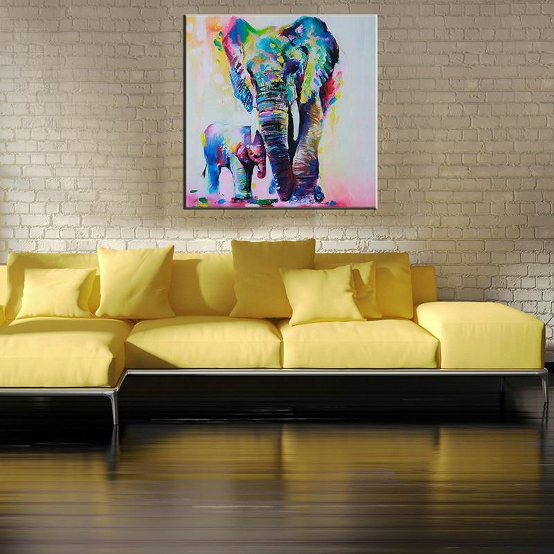 Aliexpress.com : Buy Colorful Watercolor Elephant Frameless Canvas ...
