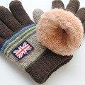 2017 Children Winter Print Gloves England Stretchy Knitting Mittens boy girl Sweet Thicken Patchwork Wool Glove Fashion 5 Color
