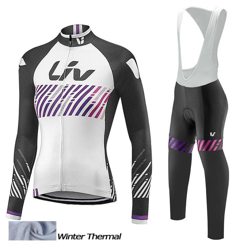 LIV Team nouveau femmes hiver thermique polaire cyclisme Jersey ensemble vêtements à manches longues cyclisme vêtements chaud bavoir pantalon