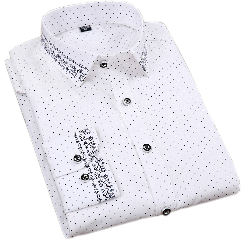 100% Cotton Printed Long Sleeve Dress Shirts 2