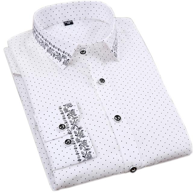 100% Cotton Printed Long Sleeve Dress Shirts 2
