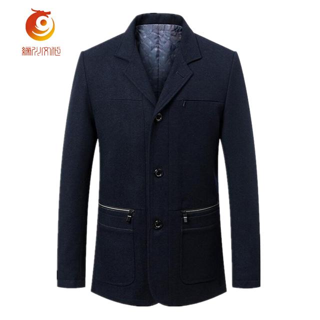 2017 Ternos de Negócio Dos Homens De Lã Wadded Casacos Outono & Inverno Lazer Slim Gola do Casaco de Lã Dos Homens de Lã de Algodão dentro