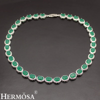 Elegant Women Choker 925 Sterling Silver Necklace Oval Fashion Party Jewelry Classic Green Beauty Christmas Gift