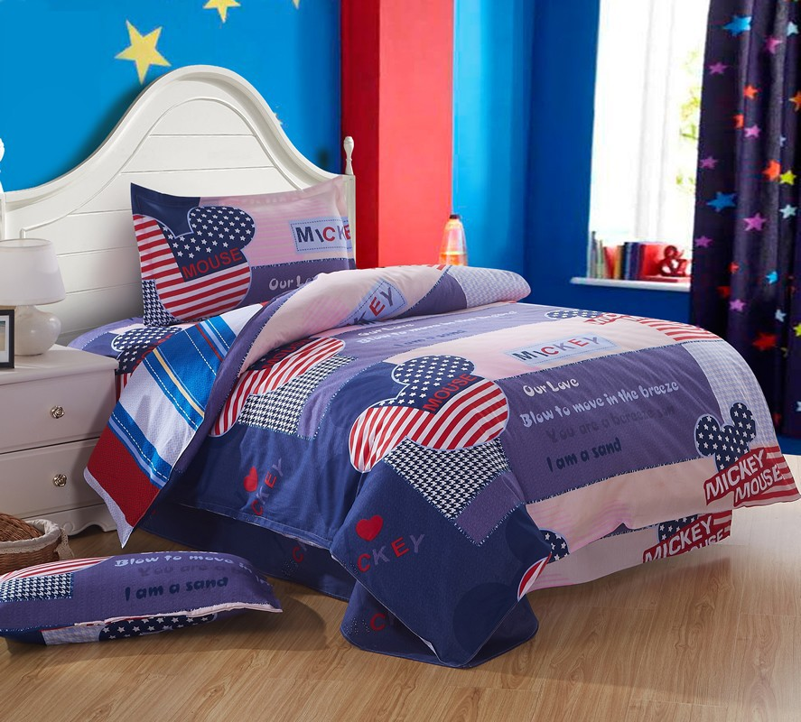 Very Cute Kids Cartoon Bedding set Twin Size 3 piece 100% Cotton Mickey Minnie Mouse and American Flag Bedding Sheets Pillowcase