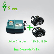2PCS 5.0Ah Rechargeable Li-Ion Battery BL1850 with Universal Power Tool Battery Charger Replacement for Makita 18V BL1830 BL1840