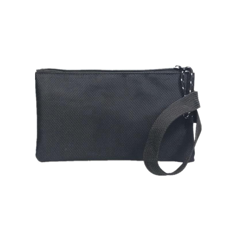 2018 New Fashion Solid Black Slim Oxford Men Handbag Key Wallet Hand Bag Zipper Clutch Coin Purse Phone Holder Mini Wristlet