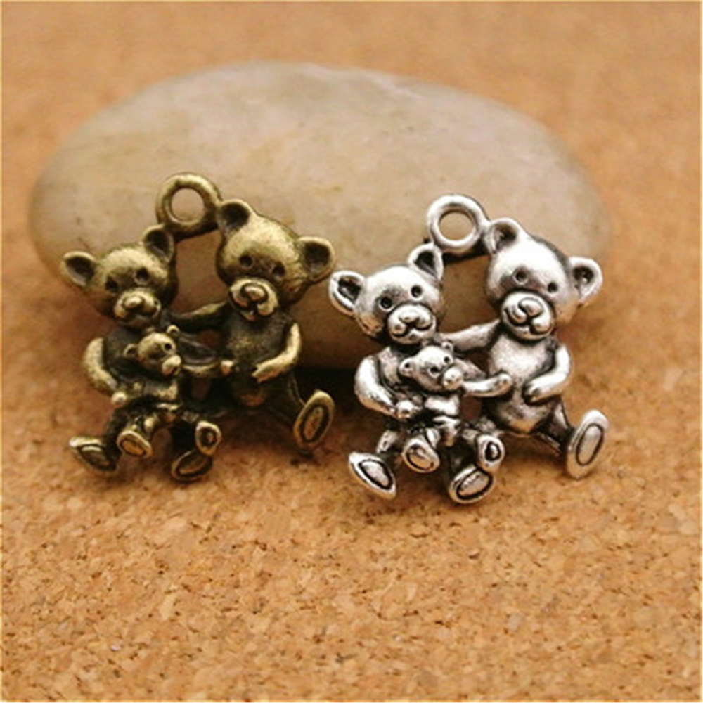 Teddy Bear Charm//Pendant Tibetan Antique Silver 16mm  20 Charms Accessory Crafts
