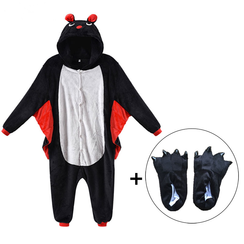 Kids Onesies With Slippers Kigurumi Children Adult Women Bat Animal Pajama Suit Jumpsuit Party Funny Outfit Flannel Sleepwear