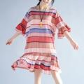 2017 lanzamiento verdadero estilo coreano ucrania dress plisado playa de la gasa del borde de la hoja señoras del verano flojo de gran tamaño dress de las mujeres ropa