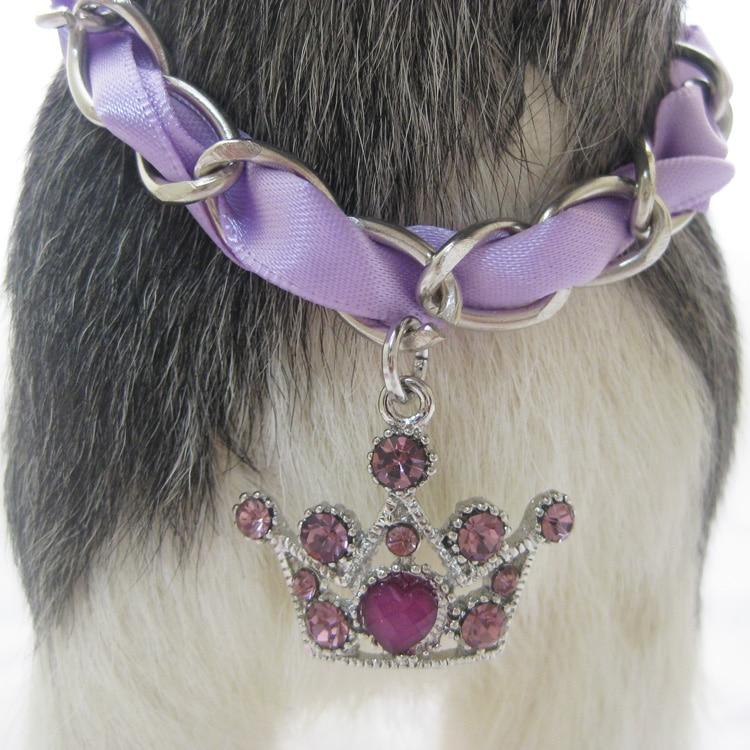 Kiçik It Pişik Zəncirli Boyunbağı Yaxası Crown Charm Kulon Pet Kukla Toyu Zərgərlik Aksesuarları