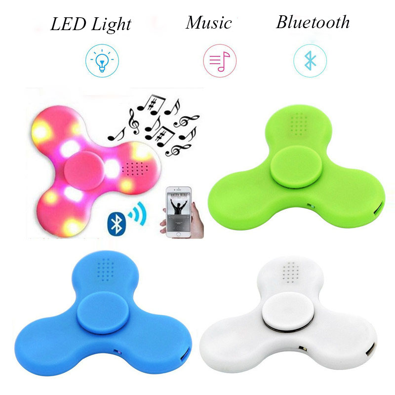 Doub K 10pcs/pack LED Spinner Bluetooth Speaker music Hand spiner sliding plastic puzzles tri-spinner Spinner new Toys for adult crystal led plastic fidget puzzle spinner hand edc luminous hand glowing spinner relieve stress tri spinner adult kid gift toy
