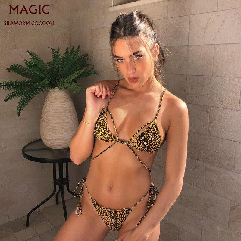 Sexy Leopard Print Swimsuit Ladies Bikini Set Women Push Up Swimwear Female Biquini Low Waist Bandage BeachWear Bathing Suits