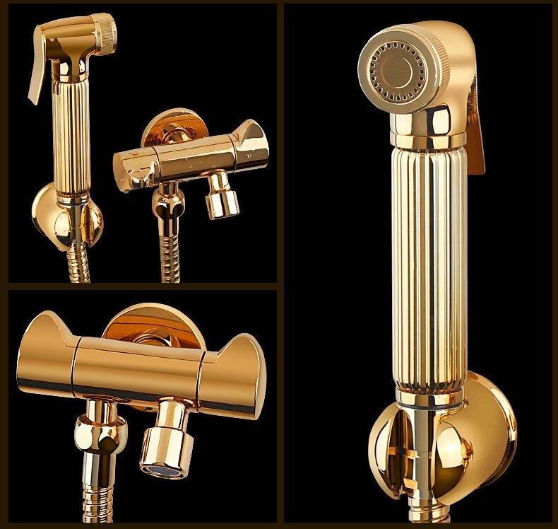 Meilleur luxe or laiton salle de bains à main Bidet pulvérisateur robinet pistolet de pulvérisation et support tuyau Conector or valve et 1.5 m tuyau de douche