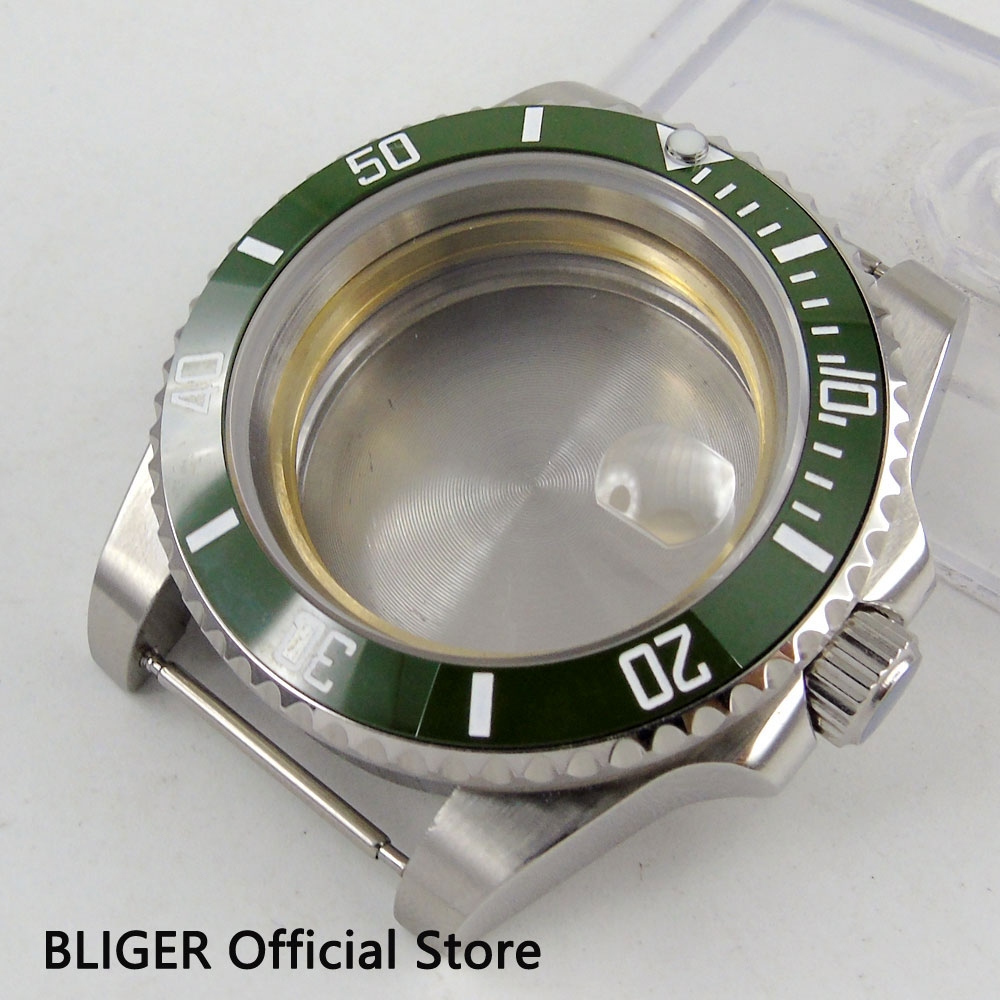 Hot newest 40mm BLIGER sapphire glass green ceramic bezel stainless steel watch case fit eta 2824 2836 movement men's watch case цена и фото