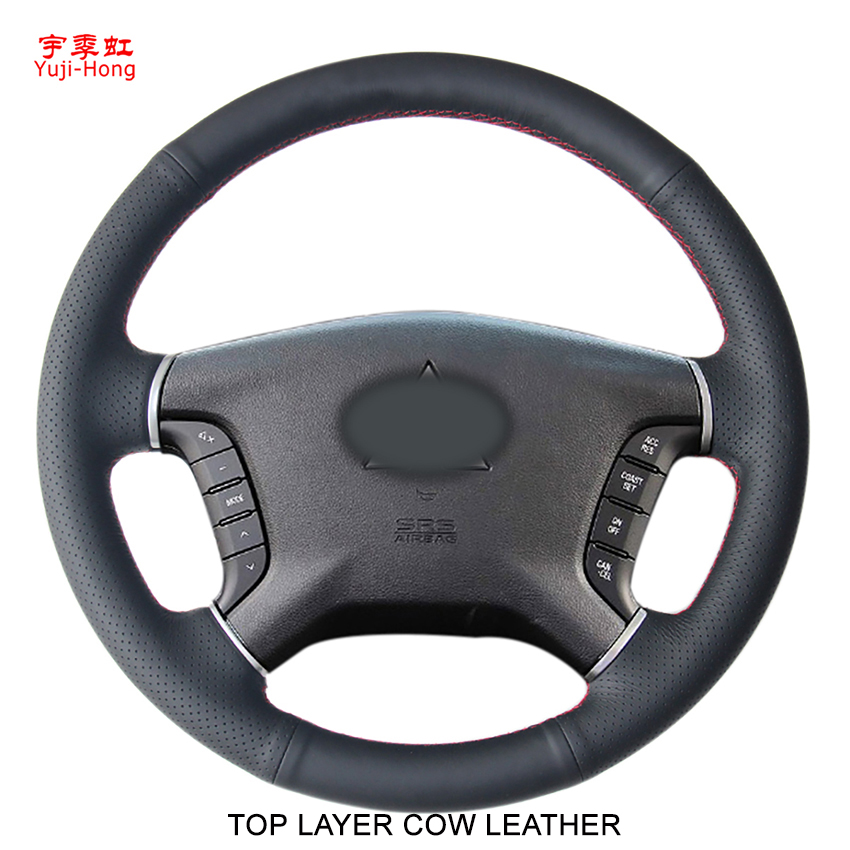 Yuji-Hong Top Layer Genuine Cow Leather Car Steering Wheel Covers Case for Mitsubishi Pajero Hand-stitched Cover Black