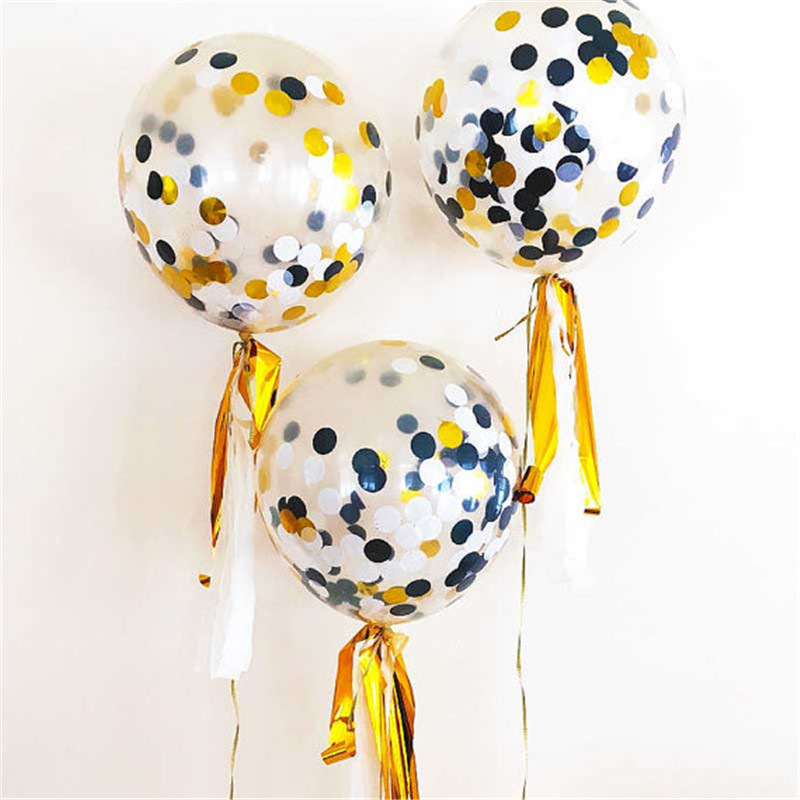 6pcs/lot Classic Black White Gold Confetti Balloons for Bachelorette Party Decorations - Wedding Background Retirement