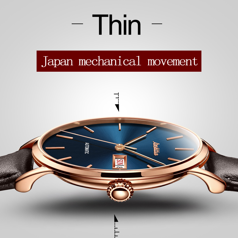 Genuine Leather Mechanical Watch JSDUN Brand Luxury Automatic Watches Rose gold Fashion Casual Water Resistant Wrist watches binger genuine gold automatic mechanical watches female form women dress fashion casual brand luxury wristwatch original box
