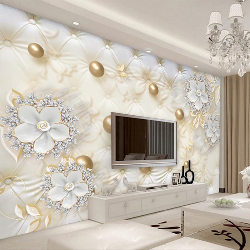 Custom Photo Wallpaper 3D Stereo White Flowers Golden Ball Murals European Style Living Room TV Sofa