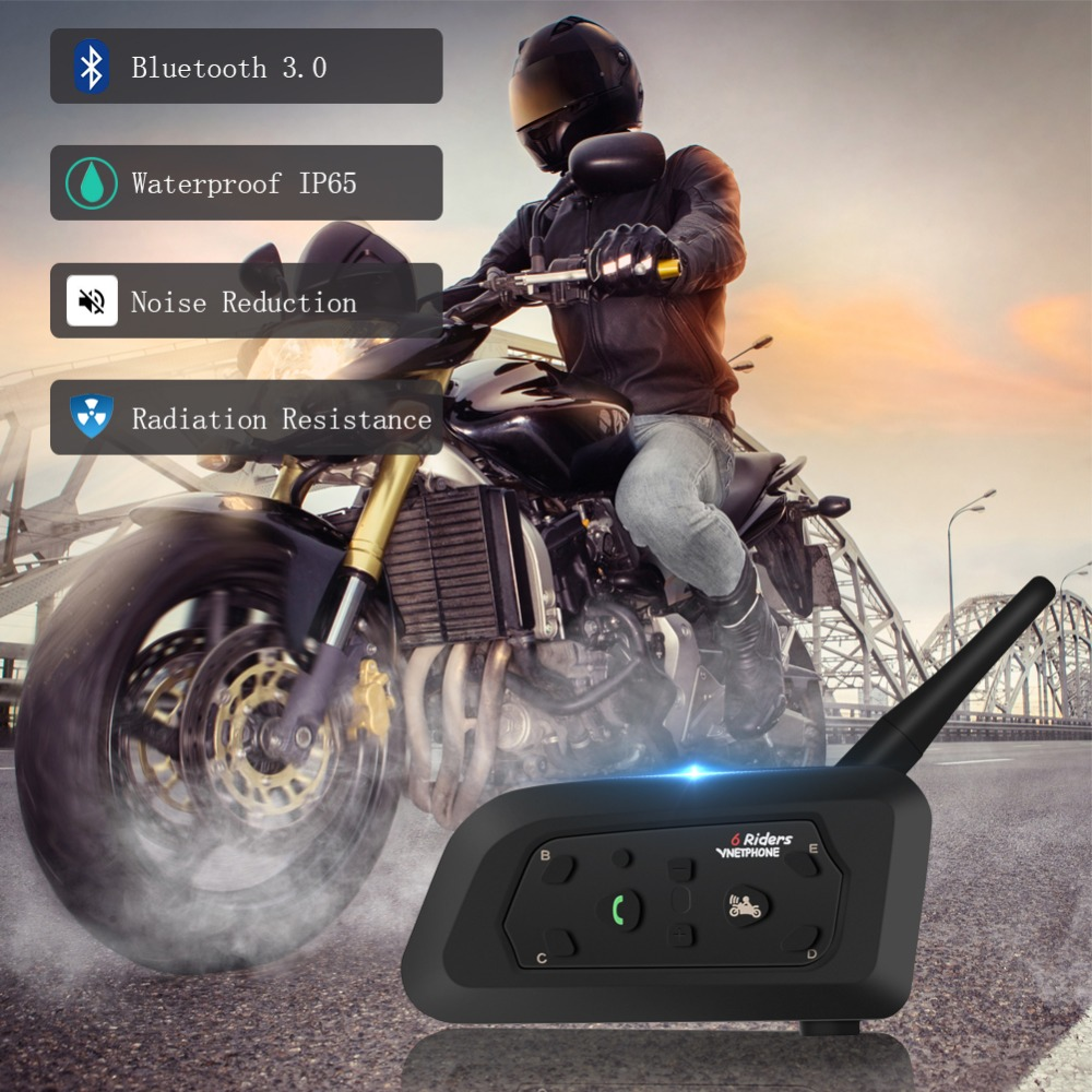 Newest V6 Motorcycle Intercom Bluetooth Helmet Headset With Microphone 1200m GPS Motor Touring Accessories For 6