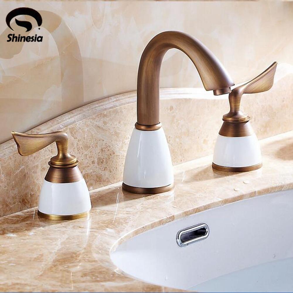 Widespread 3pcs Ceramic Basin Faucet Dual Handles Bathroom Double Handles Mixer Tap antique brass widespread bathroom faucet 3pcs 8 sink mixer tap dual handles
