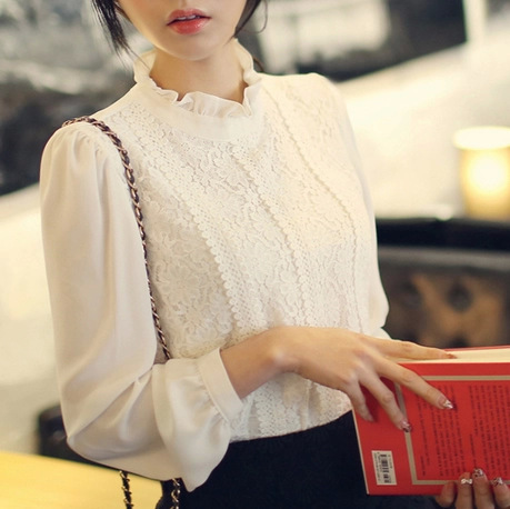2015 Women Crochet Blouse Lace Chiffon Shirt White/Black Basic Shirt Ladies Stand Collar Ruffles Blusas Femininas S0377