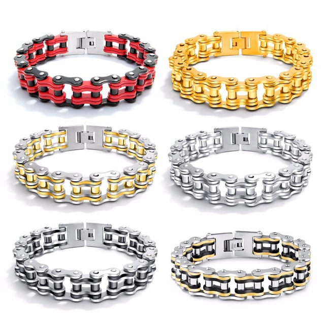 Bike Bicycle Chain Link Bracelet For Men Stainless Steel Chunky & Two Tone 21.5CM Long Male Jewelry Gift Drop Shipping 781